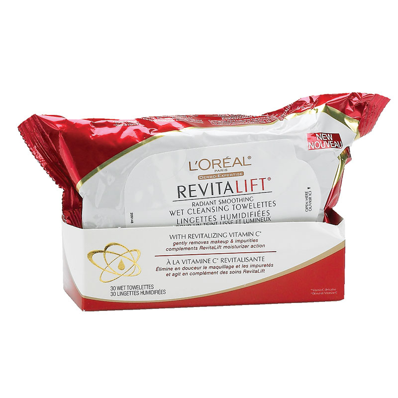 L'Oreal Dermo-Expertise RevitaLift Radiant Smoothing Wet Cleansing Towelettes - 30's