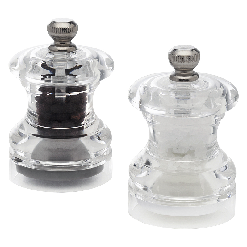 Cole & Mason Button Salt & Pepper Mill Set - Clear - 6.5cm