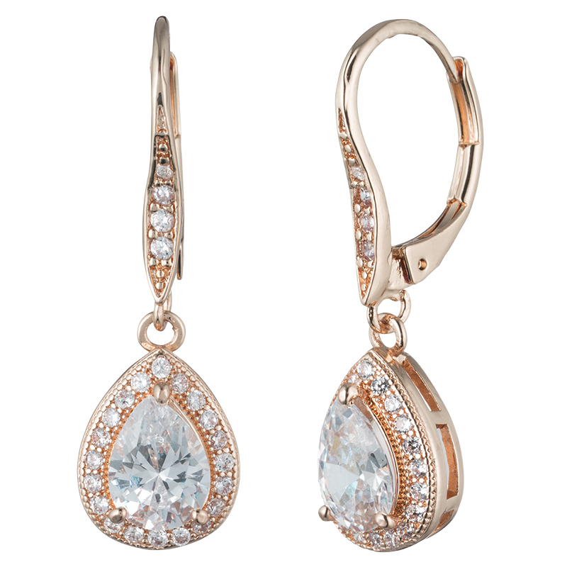 Anne Klein Pear Drop Euro Earrings - Rose Gold