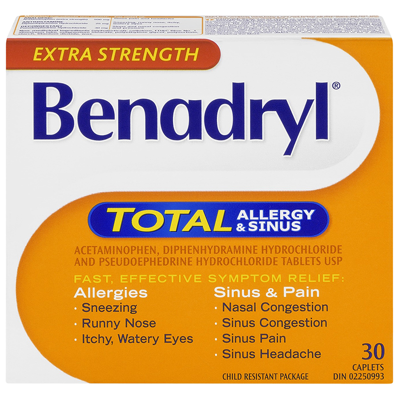 Benadryl Total Allergy and Sinus - Extra Strength - 30 caplets