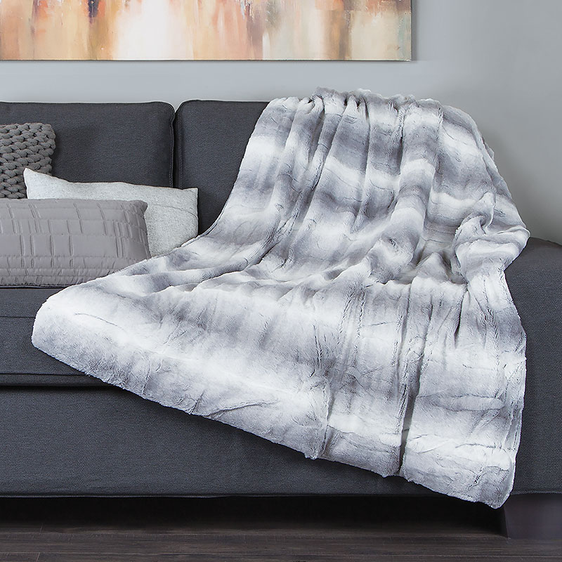 Sunbeam Luxe Fur Heated Throw - Grey/White - TSP8TS-R885-39B50