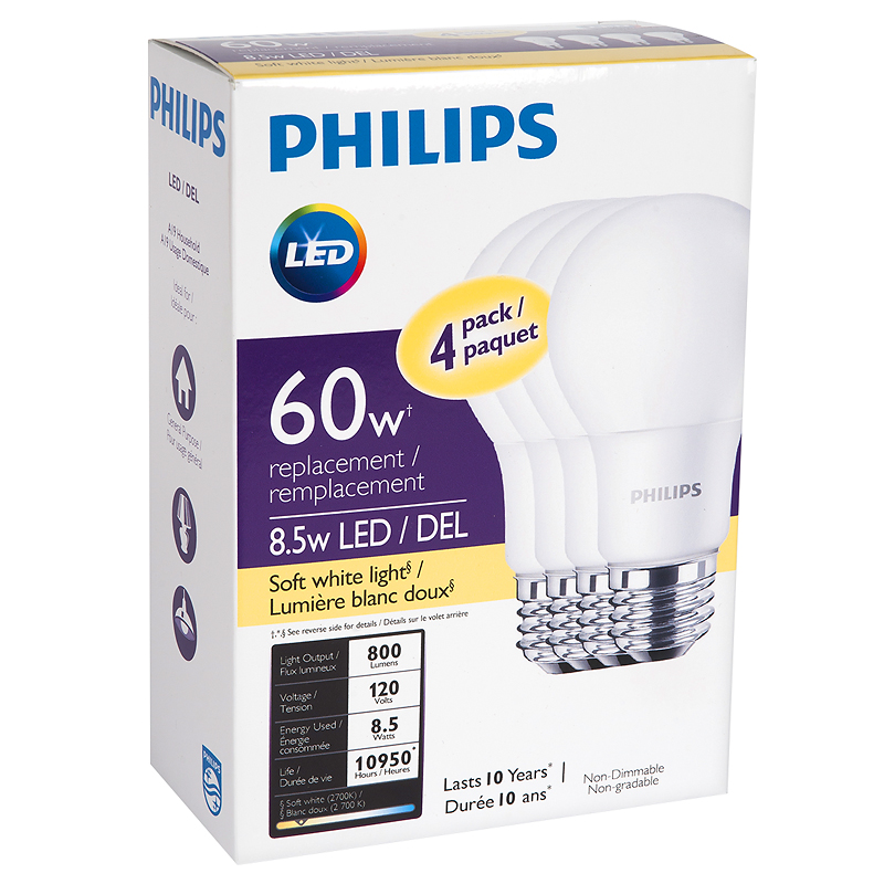 Philips Basic A19 LED Light Bulb - Soft White - 8.5W/4pk