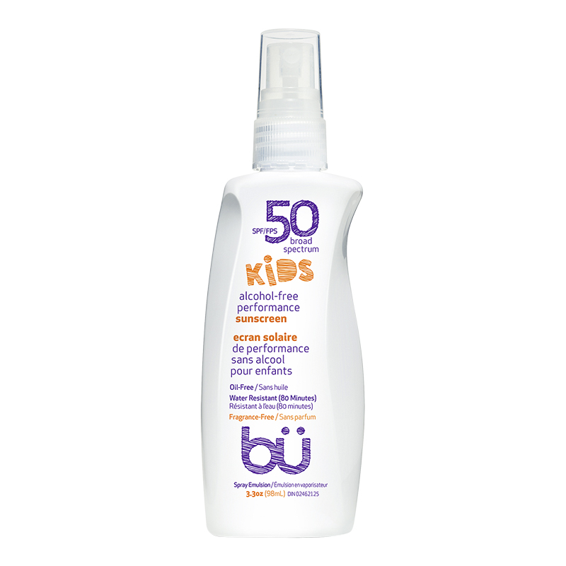 bu Kids Alcohol-Free Performance Sunscreen - Fragrance Free - SPF50 - 98ml