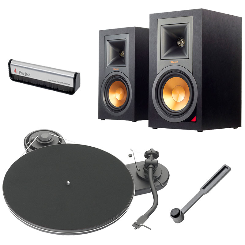 Pro-Ject Genie Turntable + Klipsch Self-Powered Speakers + Accessories - PKG #17363