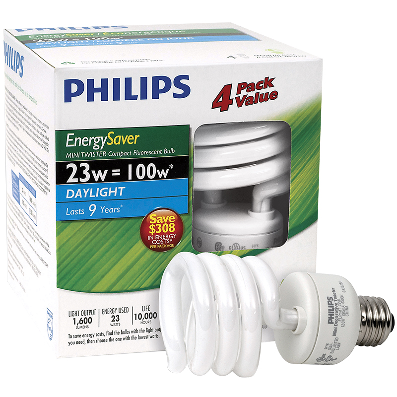 Philips Minitwister 23w CFL Light Bulb - Daylight - 4 pack