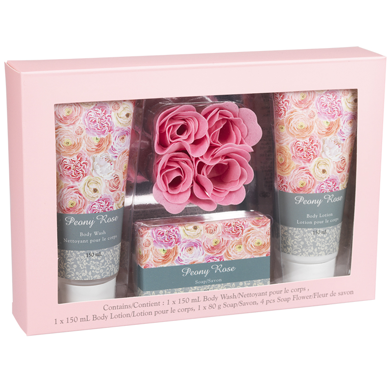 Peony Rose Bath Gift Set - 7 piece