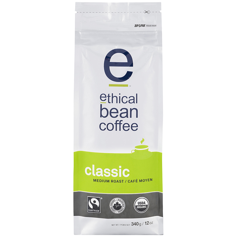 Ethical Bean Coffee - Classic Medium Roast - Whole Bean - 340g
