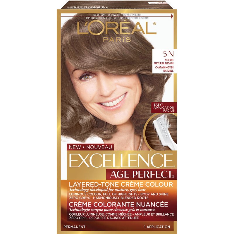 L\'Oreal Excellence Age Perfect Permanent Hair Colour - 5N Medium Natural  Brown