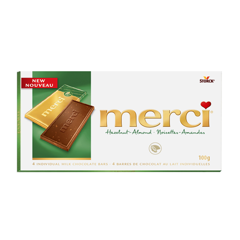 Merci Chocolate - Hazelnut & Almond - 4 Bars/100g
