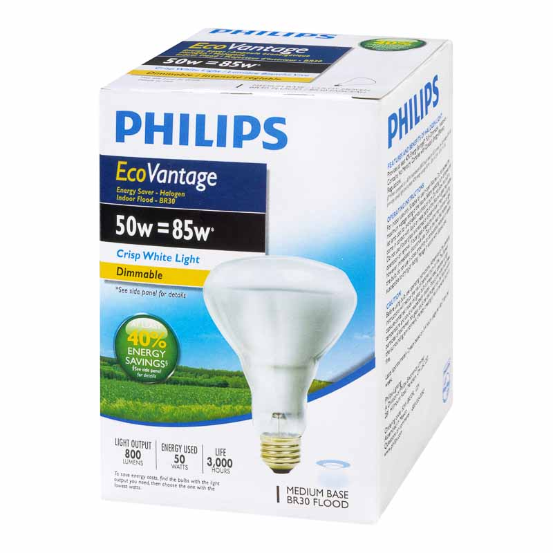 Philips 50W BR30 Ecovantage Light Bulb - Flood - 1 pack