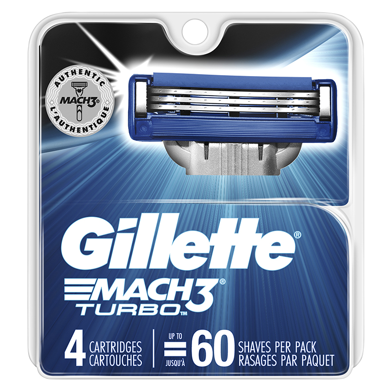 Gillette Mach3 Turbo Razor Blade Refills 4 S