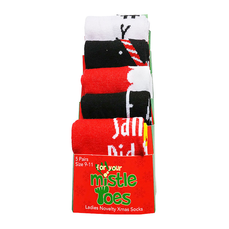 Mistle Toes Ladies Christmas Socks - 9-11 - Santa
