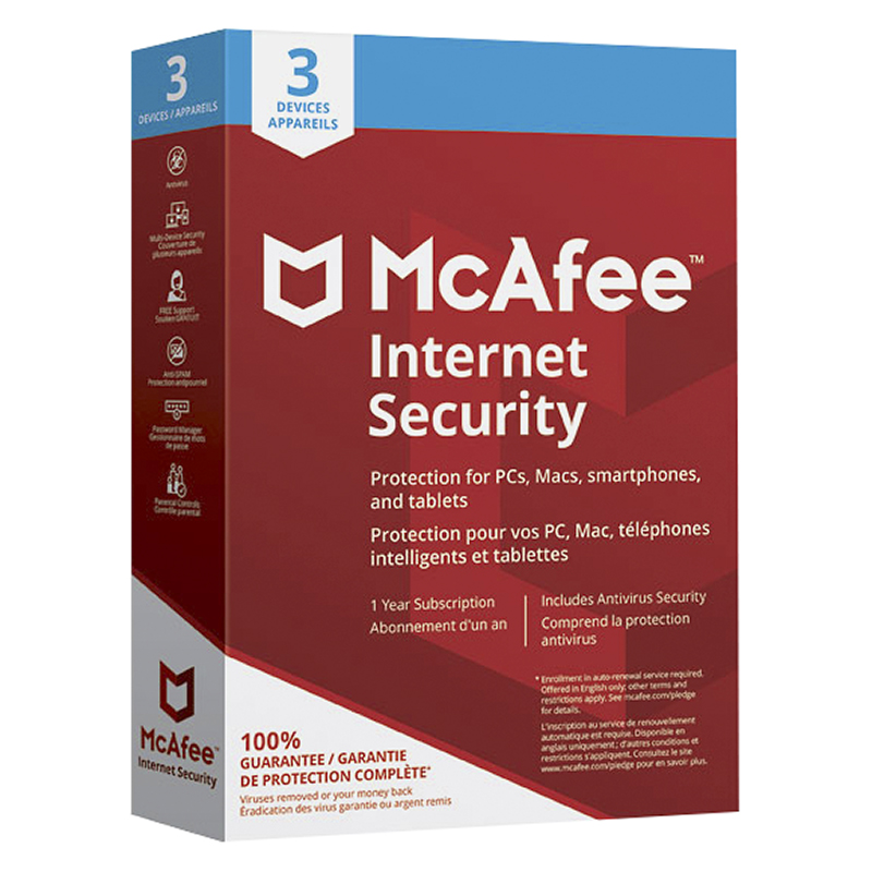 McAfee Internet Security 2018 - Three Devices - One Year