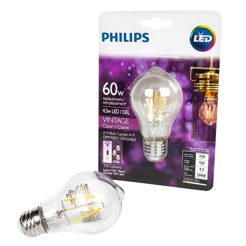 Philips A19 Vintage Filament LED Light Bulb - Clear - 60w