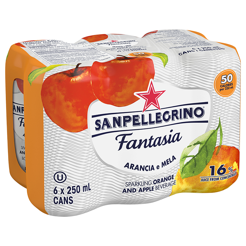Sanpellegrino Fantasia Sparkling Beverage - Orange & Apple - 6x250ml