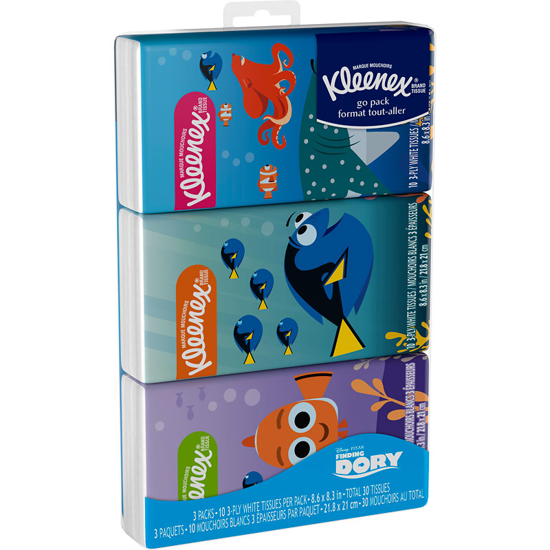 Kleenex Pocket Pack Assorted - 3 x 10's