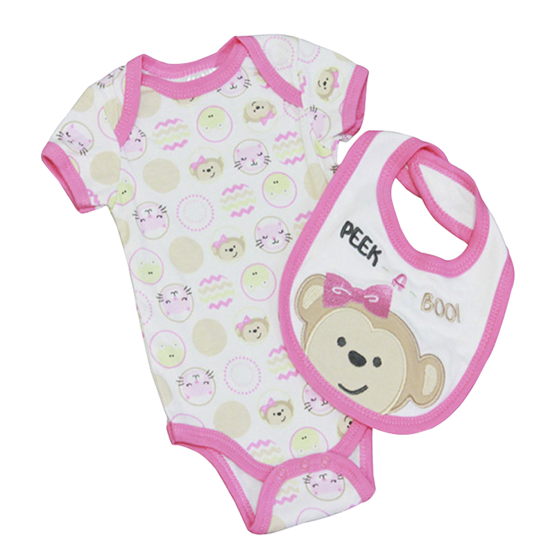 Baby Mode Peek-A-Boo Coverall and Bib Set - 0-9 months - Assorted