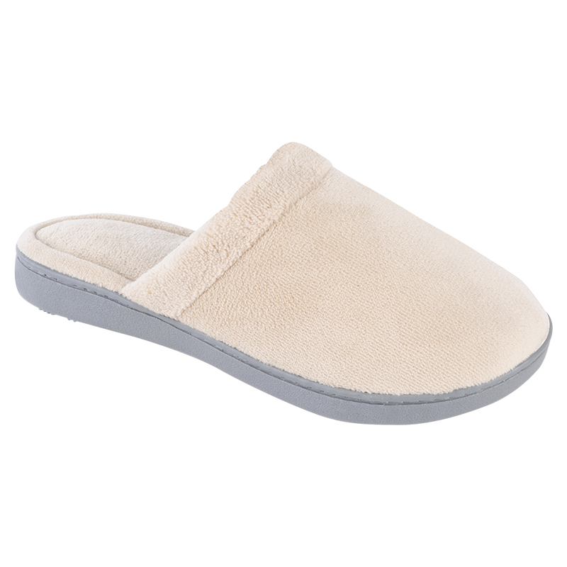 Isotoner Women's Microterry Clog Slipper with Cuff - Sand Trap - Medium