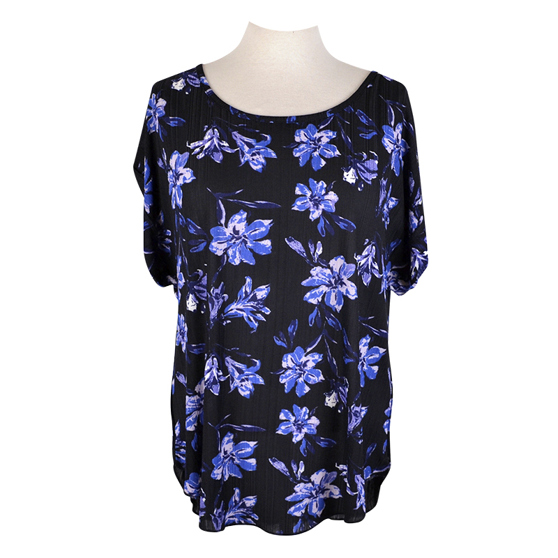 Lava Printed Short Sleeve Blouse - Blue