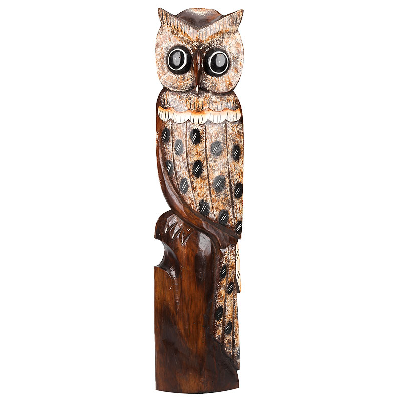 London Drugs Hand Carved Indoor Wood Decoration - Owl - 12 x 7 x 60cm