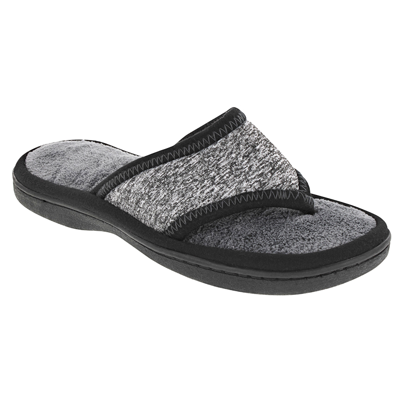 Isotoner Space Dye Thong Slipper - Heather Grey - Small