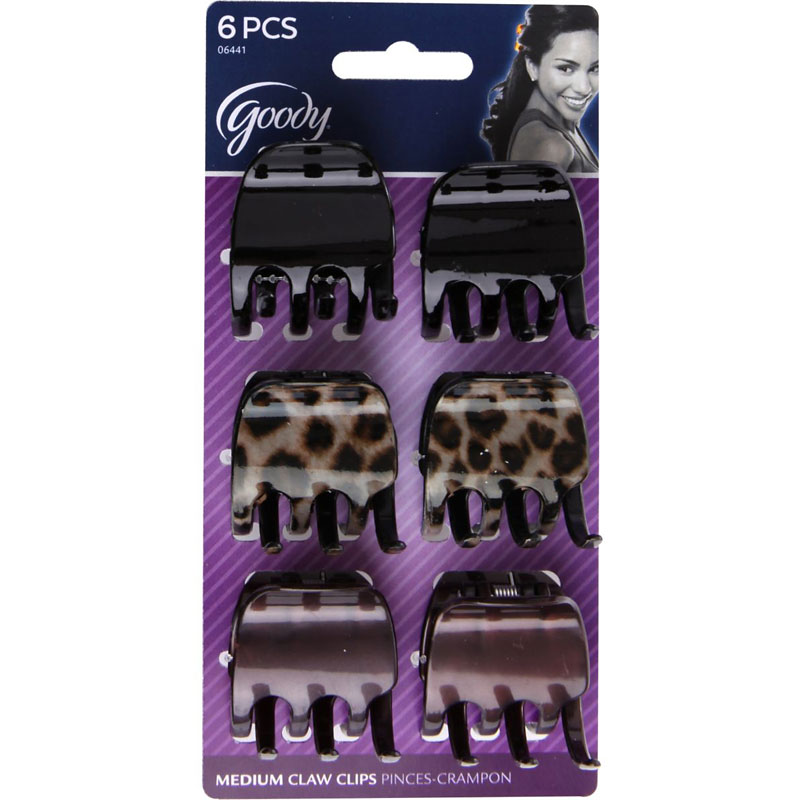 Goody Medium Claw Clips - Cheetah - 6's