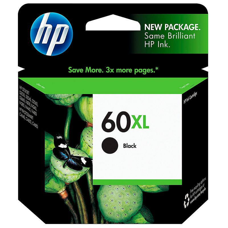 HP 60XL Ink Cartridge - Black - CC641WC#140
