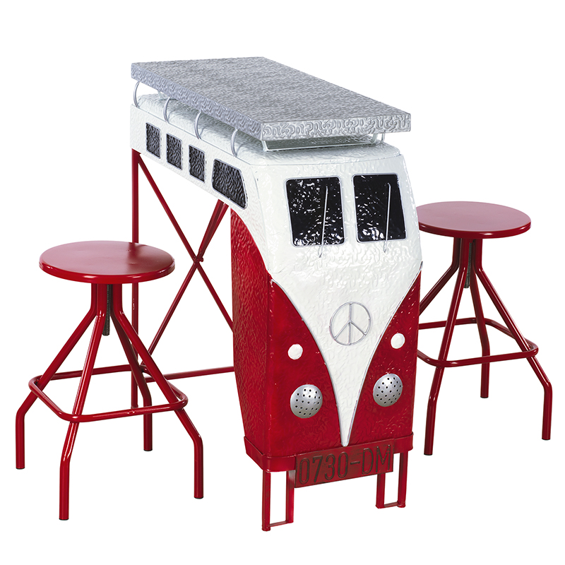 Van Table with Stools - Red