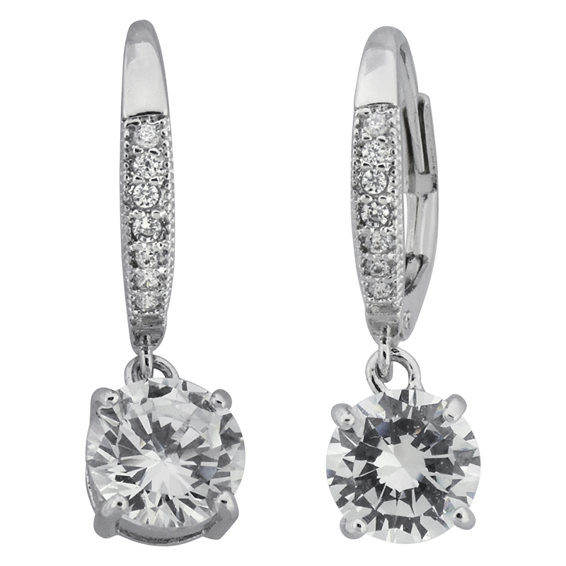 Puccini Cubic Zirconia Double Stone Drop Earrings