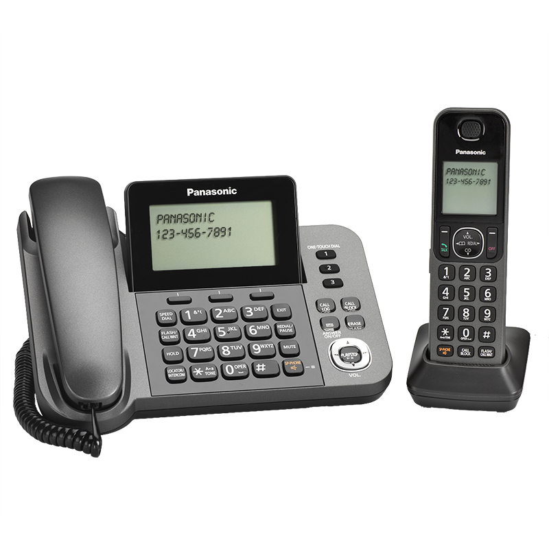 Panasonic DECT 6.0 Corded/Cordless Phone with Answering System - Black - KXTGF350M