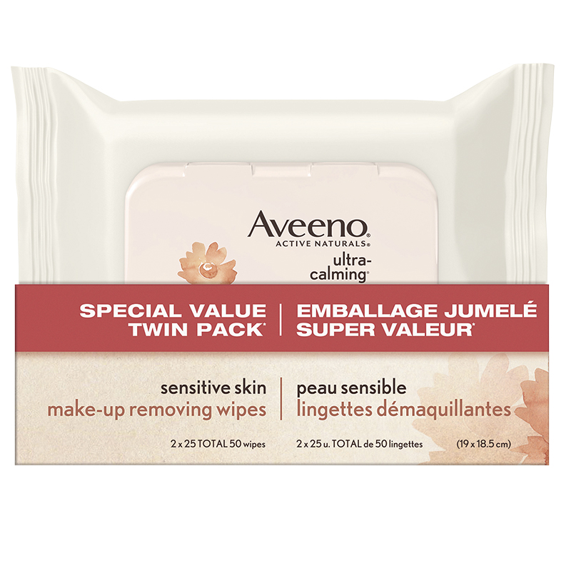 Aveeno Active Naturals Ultra-Calming Make-Up Removing Wipes - 2 x 25's