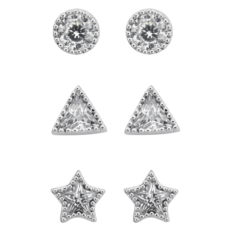 Puccini Cubic Zirconia Trio Earring Stud Set