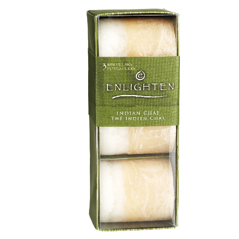 Enlighten Mini Pillar Candles - Indian Chai - 3 pack