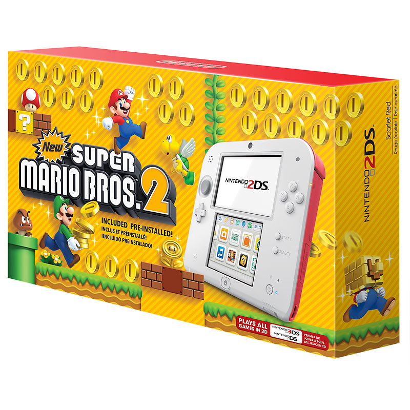 Nintendo 2DS Scarlet Red Gaming Console With New Super Mario Bros. 2