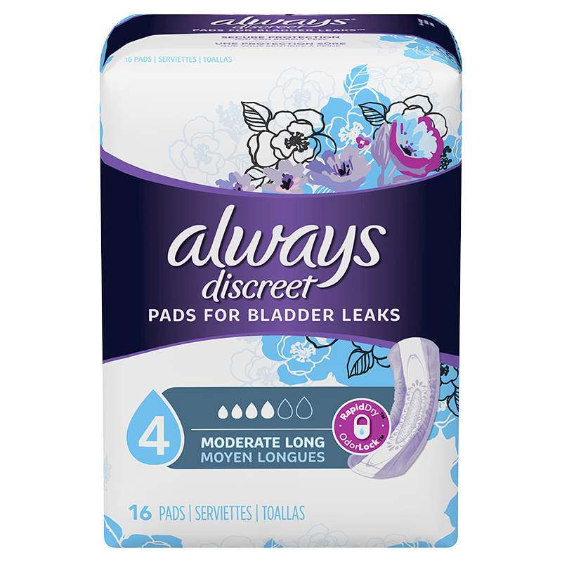 Always Discreet Pads Moderate Long Length - 16's