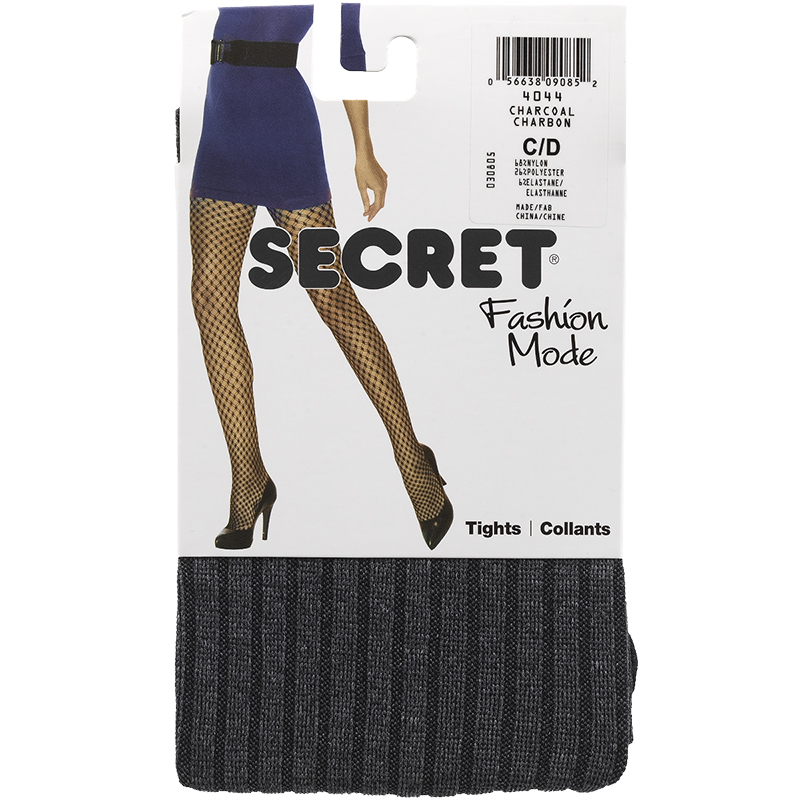 Secret Ribbed Heather Tights - Charcoal - A/B