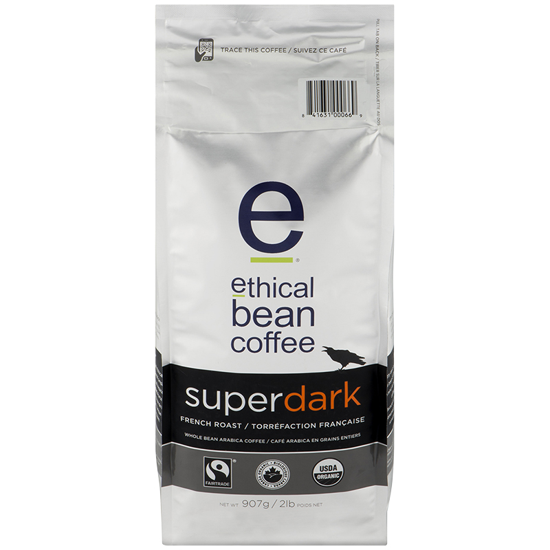 Ethical Bean Coffee - Super Dark French Roast - Whole Bean - 908g