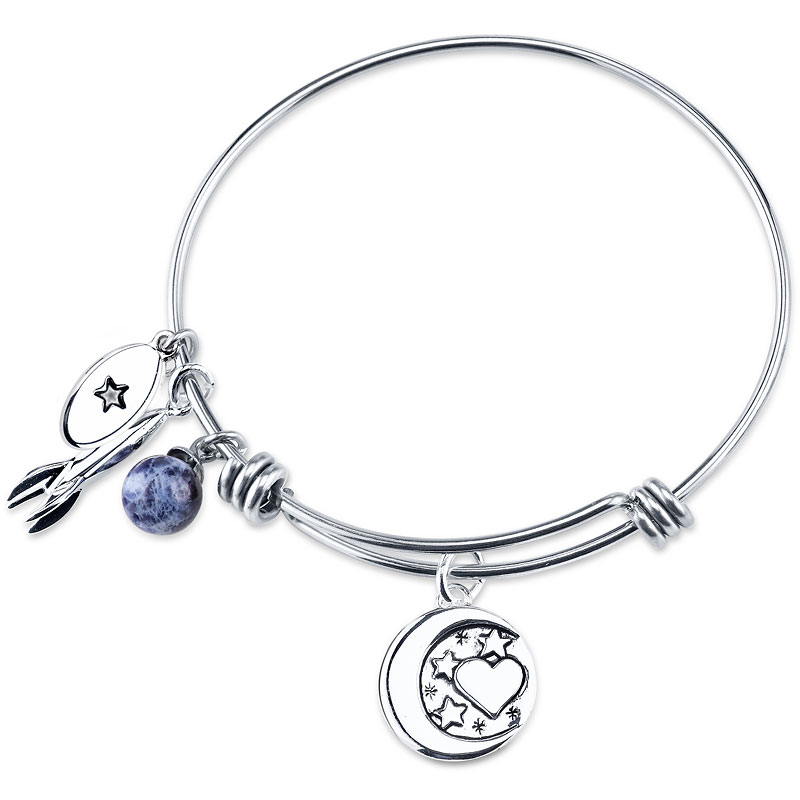 Unwritten Love You to the Moon and Back Expandable Bangle - Stainless Steel