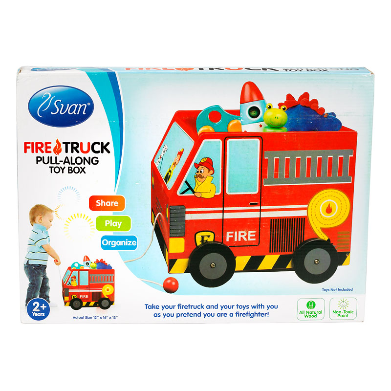 Fire Truck Wooden Toy Box