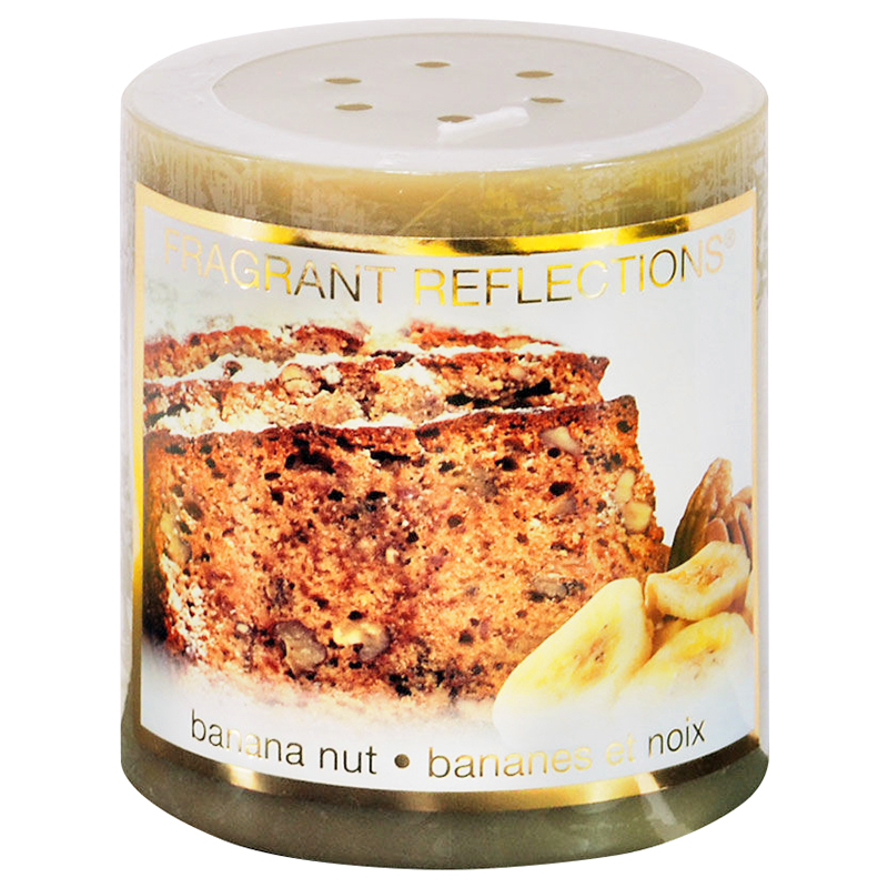 Fragrant Reflection Pillar Candle - Banana Nut - 3 inch