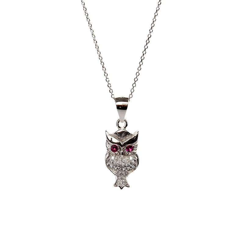 Charisma Stainless Steel Owl Pendant Necklace