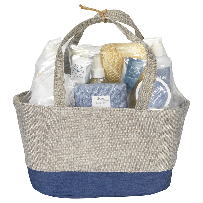 Vintage Denim Beauty Set Tote - Lemon Zest & Basot Oil - 10 piece