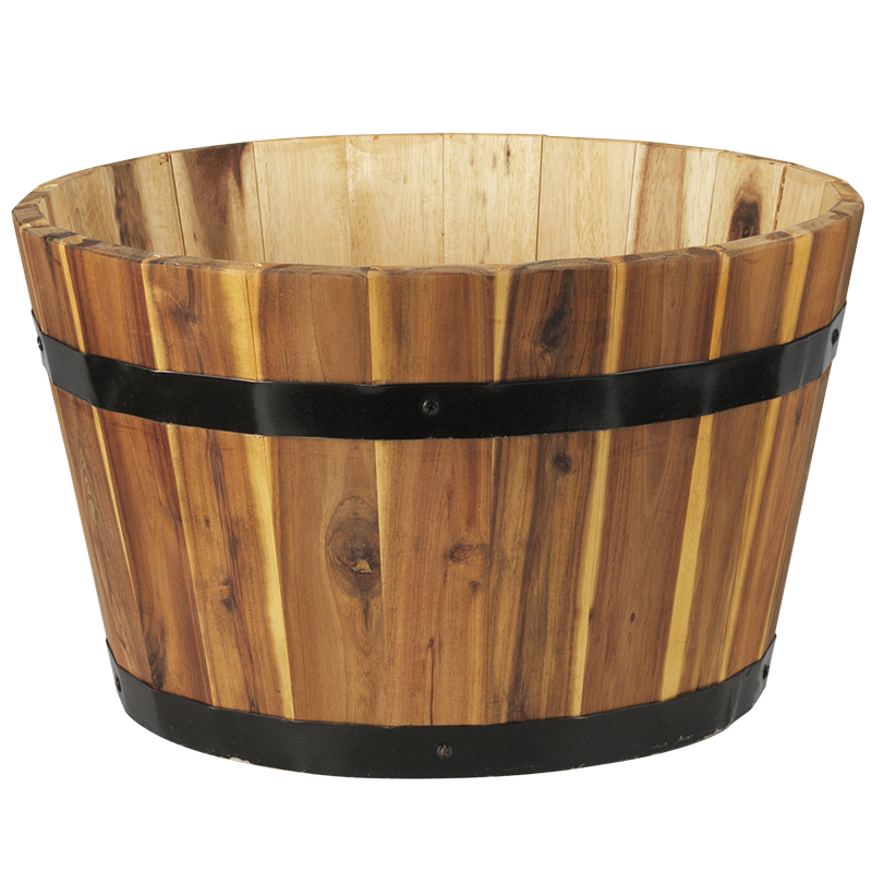 Evergarden Round Wood Outdoor Barrel - Natural Oak - Small