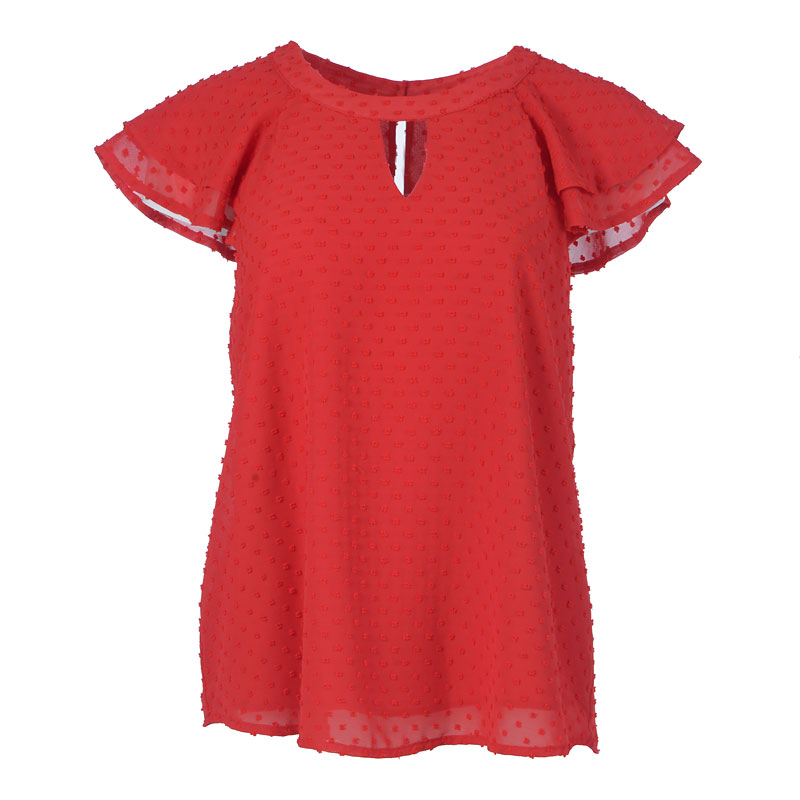 Lava Flutter Sleeve Top - Red
