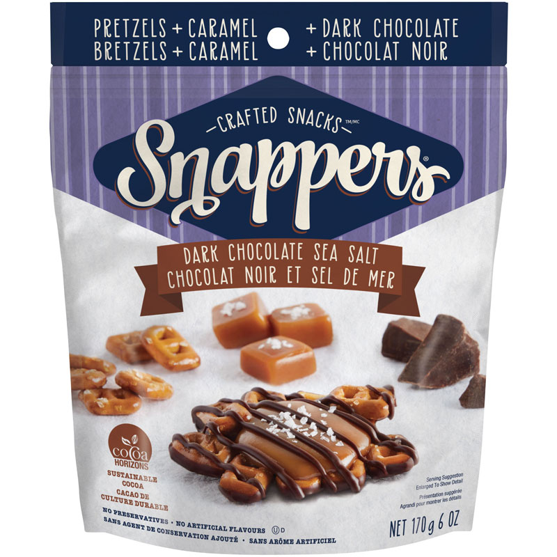 Snappers Caramel Pretzel Treat - Dark Chocolate Sea Salt - 170g