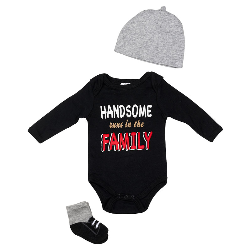 Baby Mode Handsome Runs 3-Piece Onesie Set - 11043 - Assorted