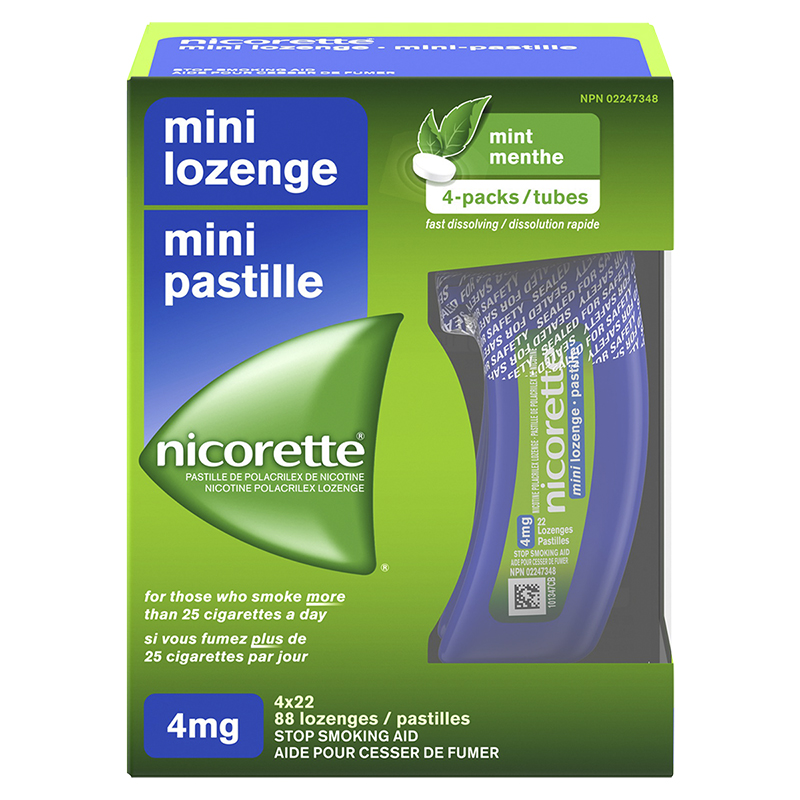 Nicorette Nicotine Mini Lozenge Stop Smoking Aid - Fresh Mint - 4mg - 88's