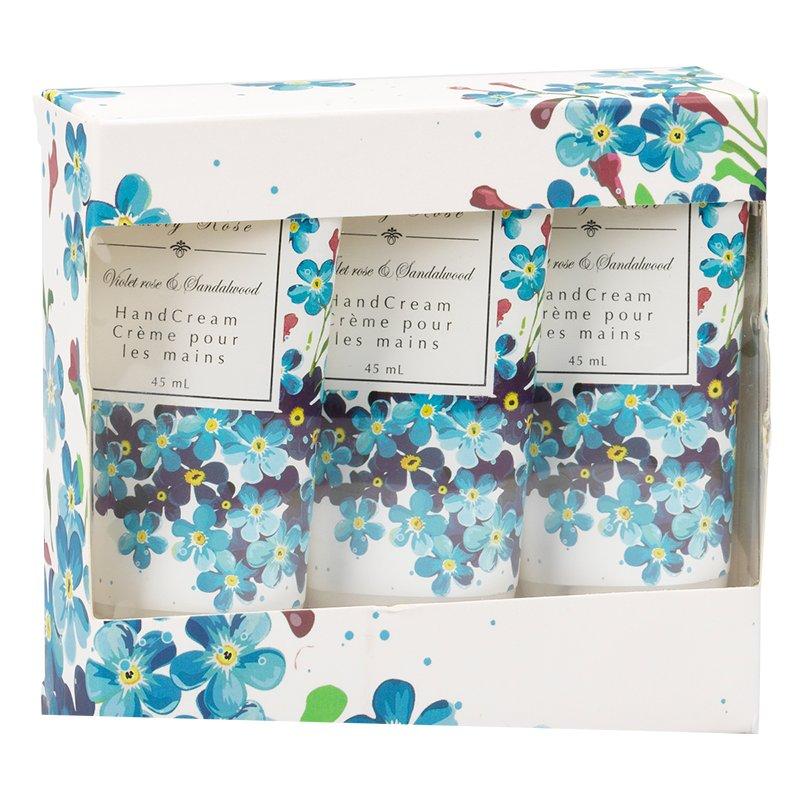 Emily Rose Hand Cream Set - Violet Rose & Sandalwood - Blue - 3 x 45ml