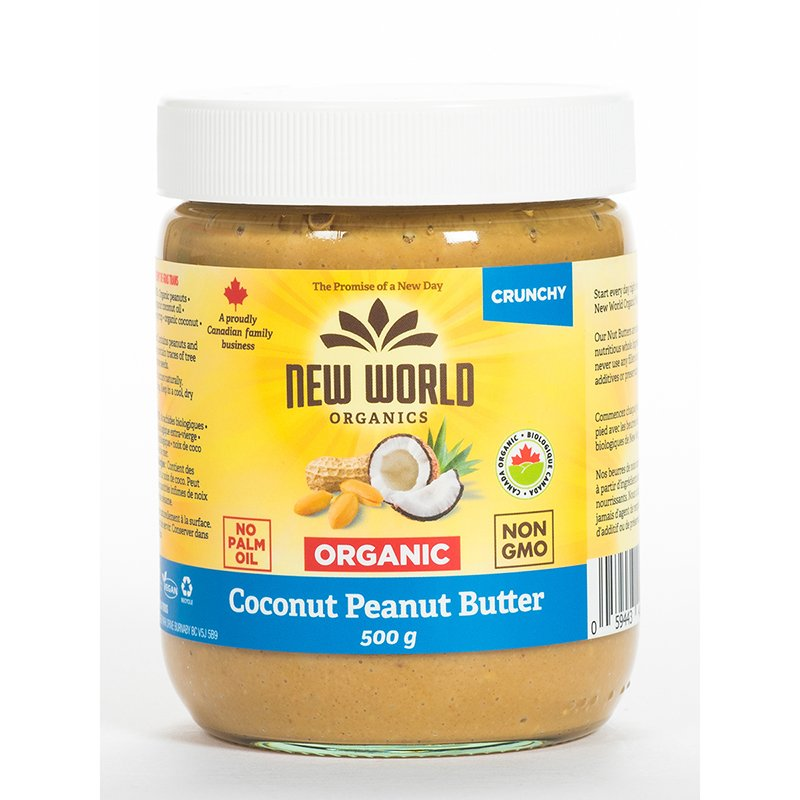New World Organics Coconut Peanut Spread - Crunchy - 500g