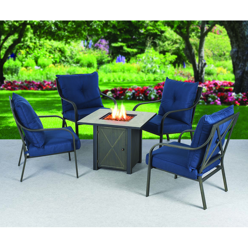 Delancy Fire Table and Chairs Package - 5 piece